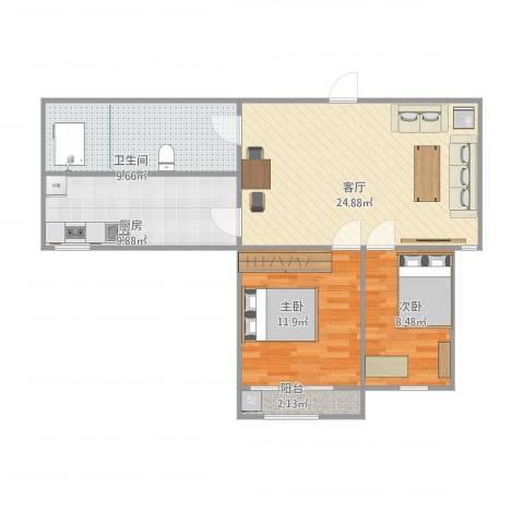 汇源华庭2室1厅1卫1厨90.00㎡户型图