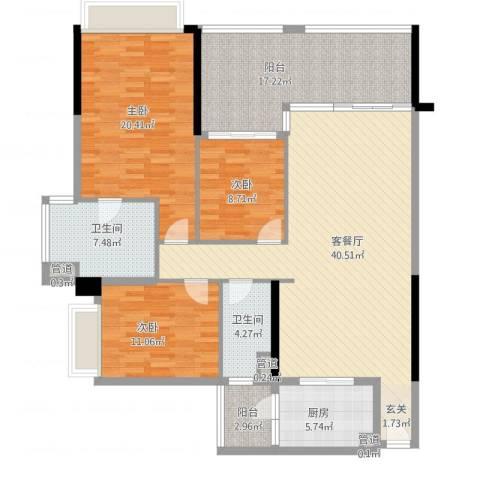 美汇半岛3室1厅2卫1厨167.00㎡户型图