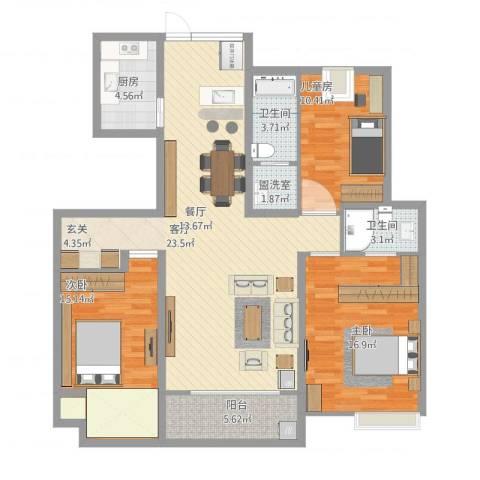 绿地悦城3室1厅2卫1厨146.00㎡户型图