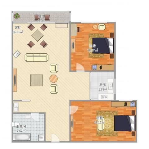 舜玉花园2室1厅1卫1厨153.00㎡户型图