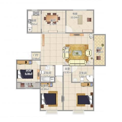 旺角花园4室1厅2卫1厨105.00㎡户型图