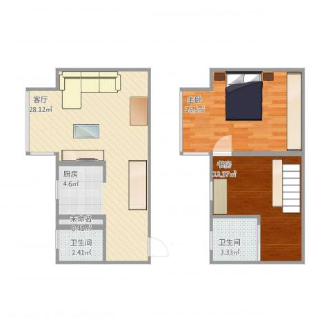 荣丰20082室1厅2卫1厨85.00㎡户型图