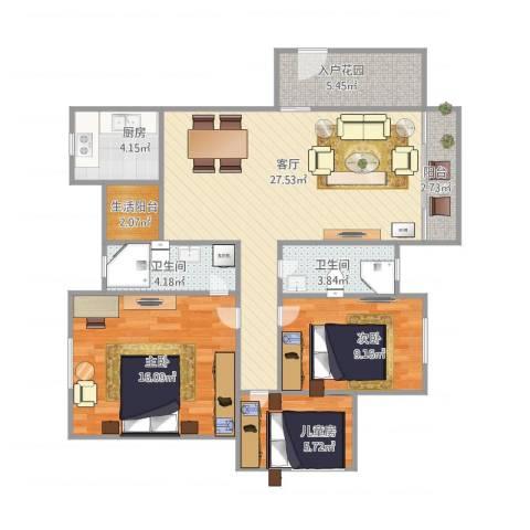 风度广场1栋12023室1厅2卫1厨110.00㎡户型图