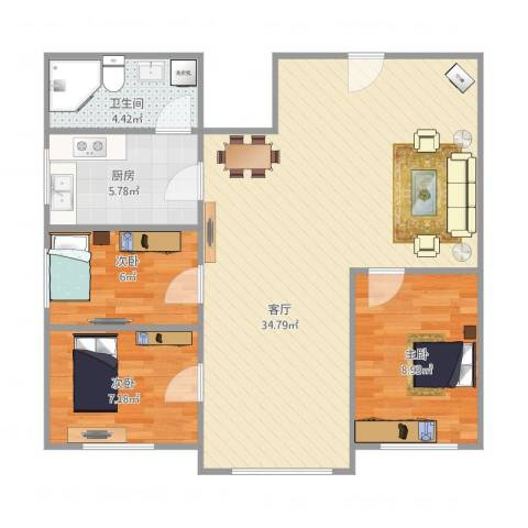 双喜小区3室1厅1卫1厨90.00㎡户型图
