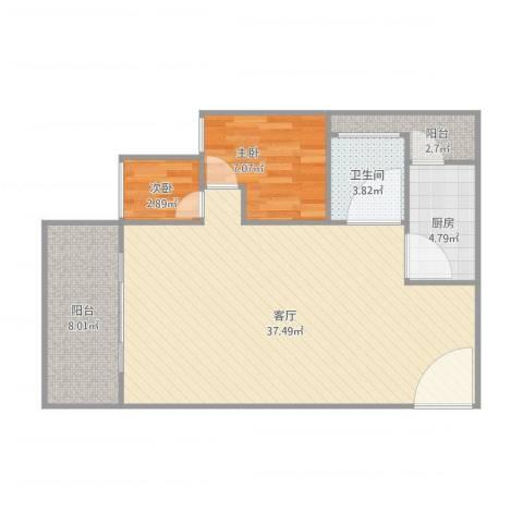 风度国际名苑2室1厅1卫1厨90.00㎡户型图