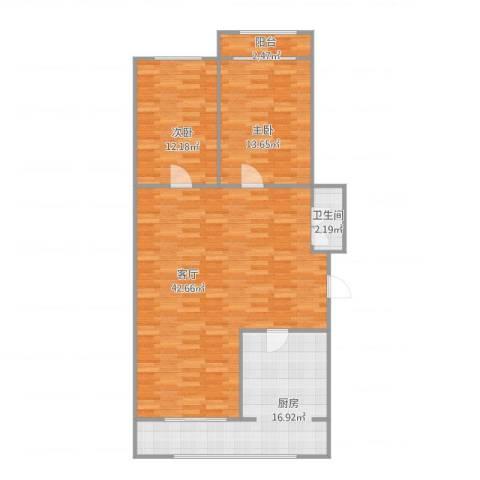 先春园世春里2室1厅1卫1厨120.00㎡户型图