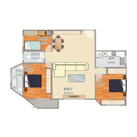 大西洋海景城3室1厅2卫1厨133.00㎡户型图