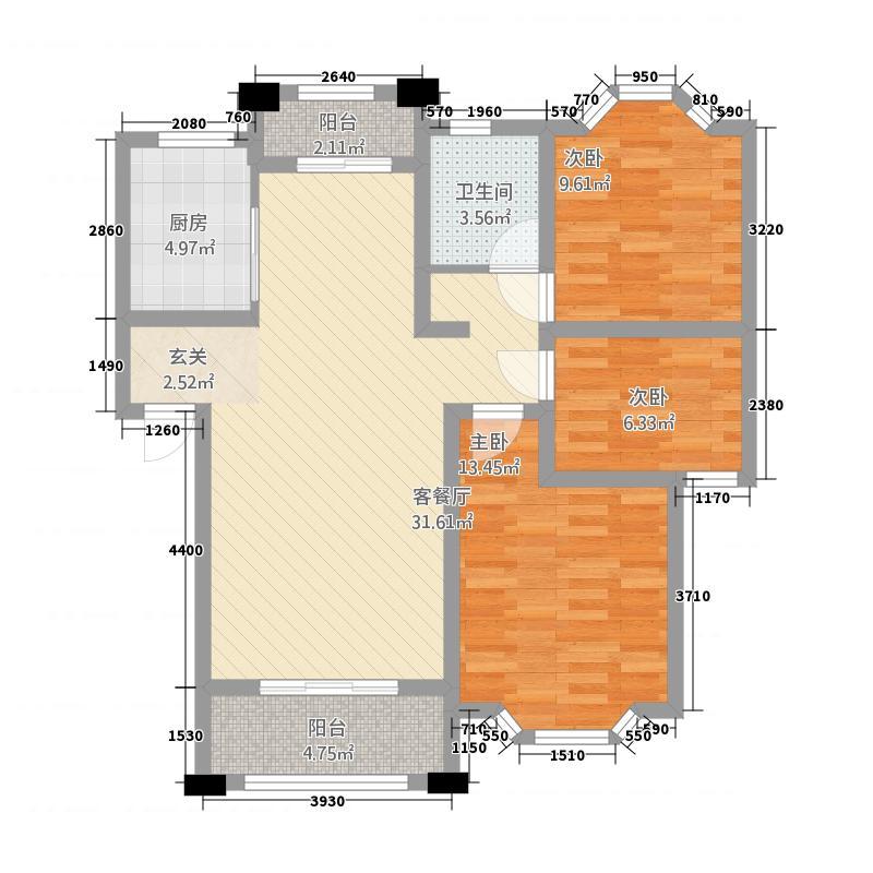 美林湾111.70㎡C户型3室2厅1卫1厨