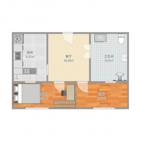 黄金SOHO2室1厅1卫1厨58.00㎡户型图