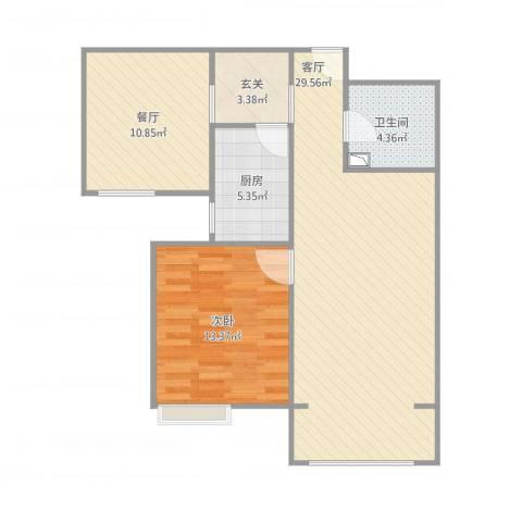 宝坻龙帝新城1室2厅1卫1厨90.00㎡户型图