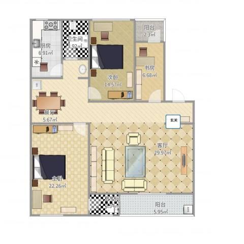 金星小区3室1厅2卫1厨153.00㎡户型图