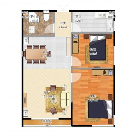富雅豪临2室1厅1卫1厨85.00㎡户型图