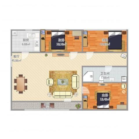 北京人家3室1厅1卫1厨135.00㎡户型图