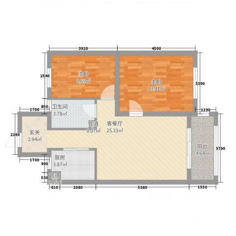 上城一号2室1厅1卫1厨86.00㎡户型图