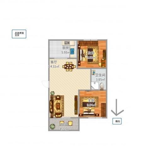 玉函小区2室1厅1卫1厨77.00㎡户型图