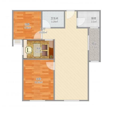 珠江东都国际3室1厅1卫1厨82.00㎡户型图