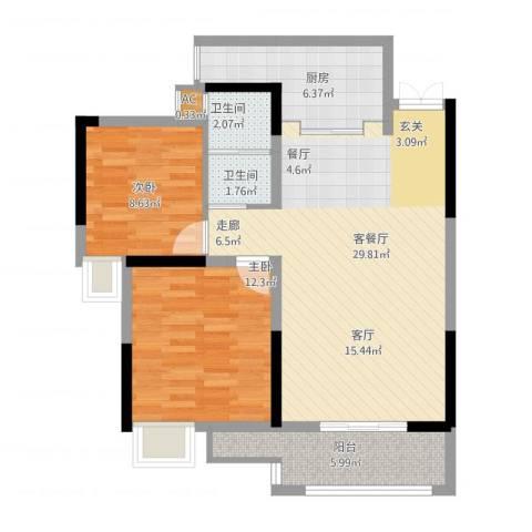 钱隆樽品2室1厅3卫1厨96.00㎡户型图