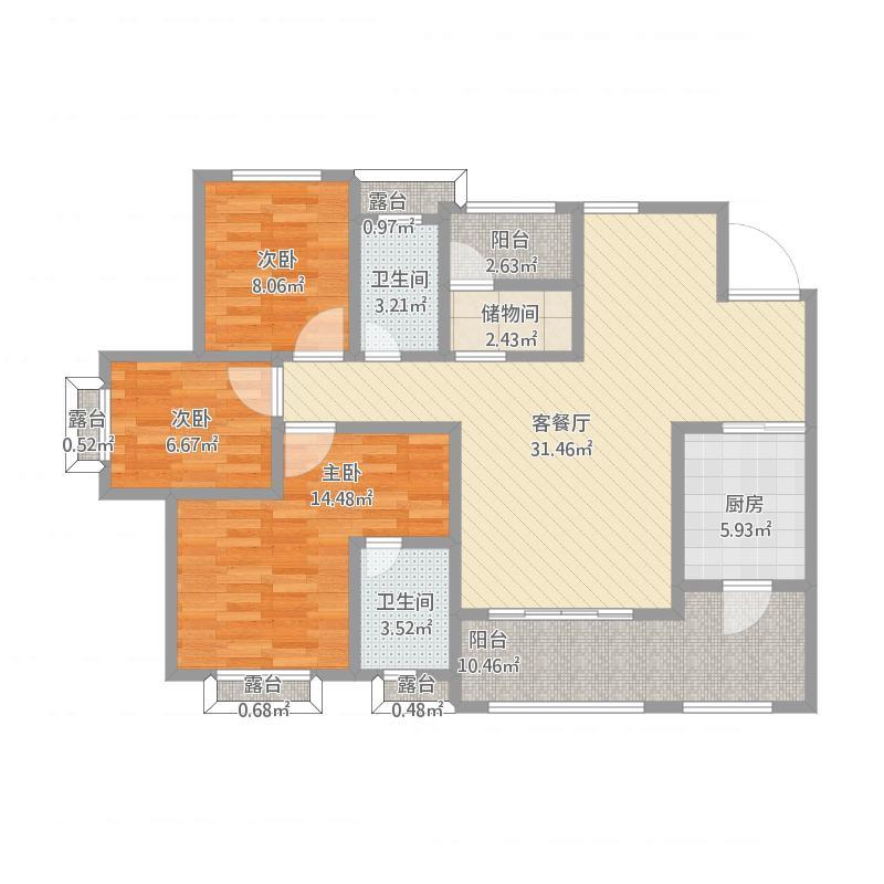 熙地锦绣城133方A-3/B-2户型三室两厅
