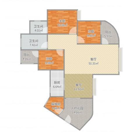 园林花园—46栋10023室1厅2卫1厨175.00㎡户型图