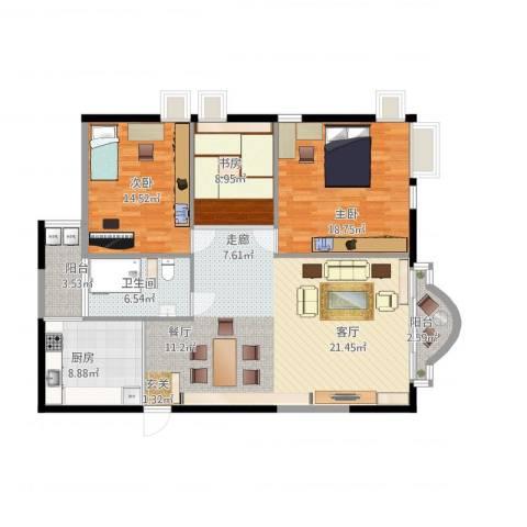 南景苑3室1厅1卫1厨144.00㎡户型图