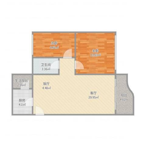 嘉怡花园-2单元7012室1厅1卫1厨90.00㎡户型图