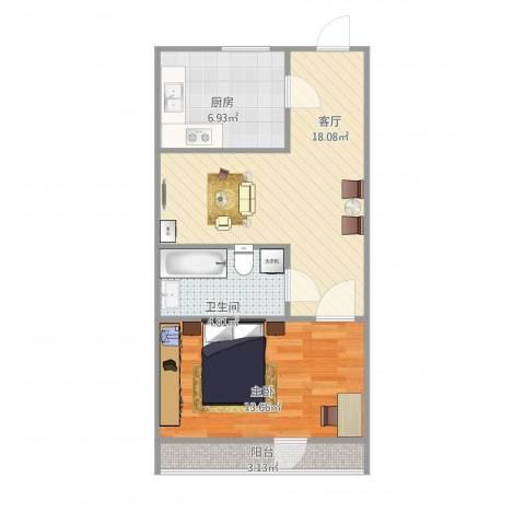 西罗园南里1室1厅1卫1厨64.00㎡户型图