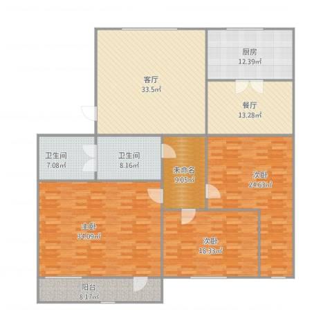 杨北小区3室2厅2卫1厨224.00㎡户型图