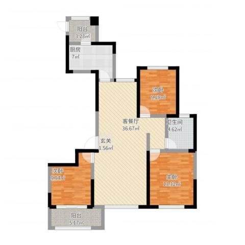 高新城市广场3室1厅1卫1厨129.00㎡户型图