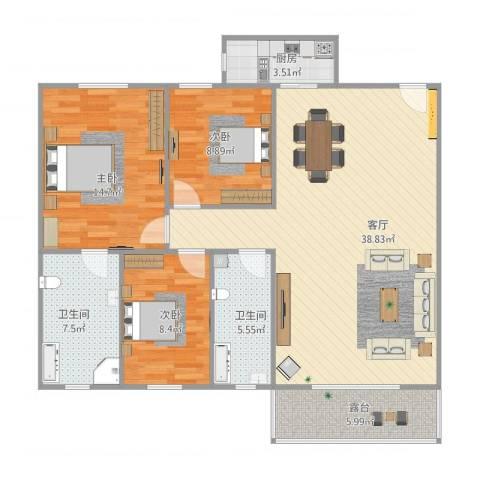 汇禾新城3室1厅2卫1厨125.00㎡户型图