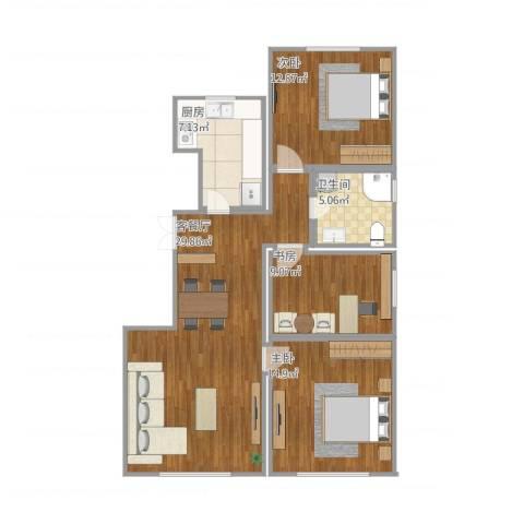 中海凤凰熙岸3室1厅1卫1厨106.00㎡户型图