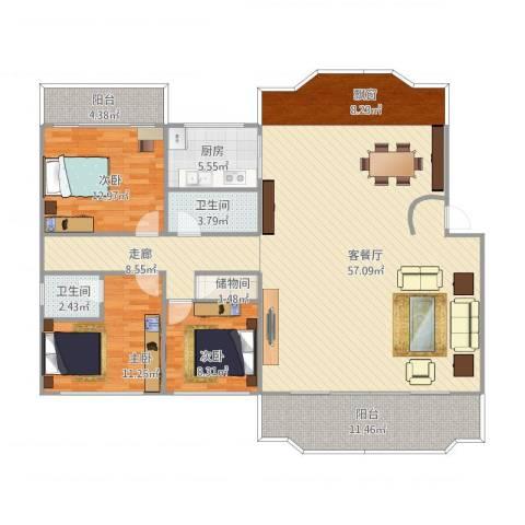 国贸新城3室1厅2卫1厨179.00㎡户型图