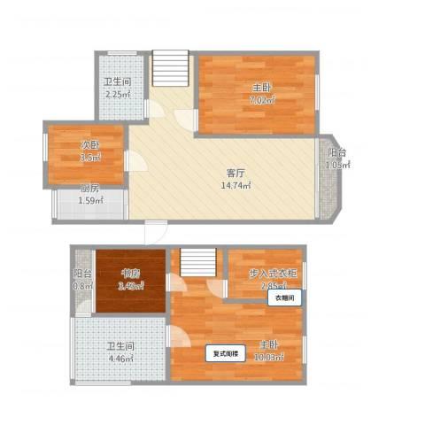 爱法新都4室1厅2卫1厨72.00㎡户型图