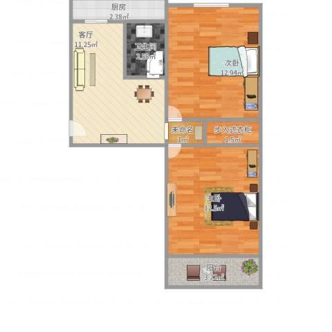 联强小区2室1厅1卫1厨65.00㎡户型图