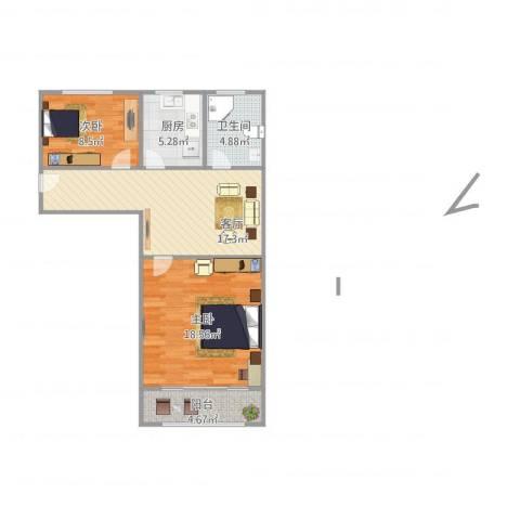 万荣小区2室1厅1卫1厨80.00㎡户型图