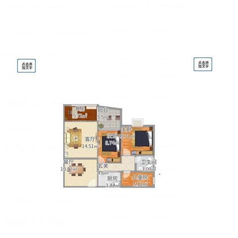 厦商大学康城4室2厅1卫1厨101.00㎡户型图