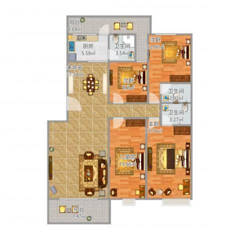 骏豪城A4#8024室1厅3卫1厨171.00㎡户型图