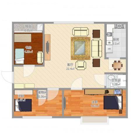 港昌新苏格兰3室1厅1卫1厨63.00㎡户型图