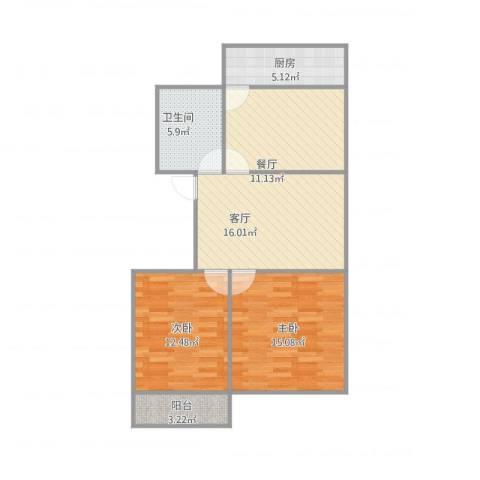 七里河小区2室2厅1卫1厨93.00㎡户型图