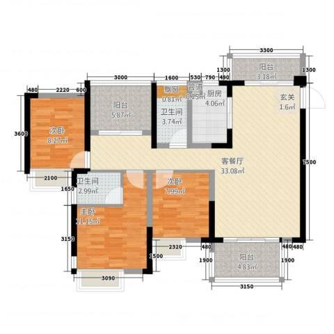 江湾公馆(一期)3室1厅2卫1厨118.00㎡户型图