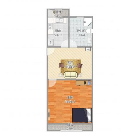 五四公路1120号1室1厅1卫1厨66.00㎡户型图