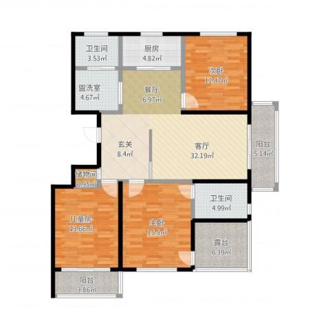 金都华府3室2厅2卫1厨154.00㎡户型图