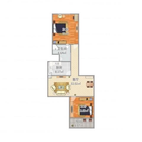 佳虹小区2室1厅1卫1厨117.00㎡户型图
