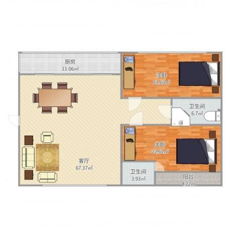 爱菊花园2室1厅2卫1厨184.00㎡户型图