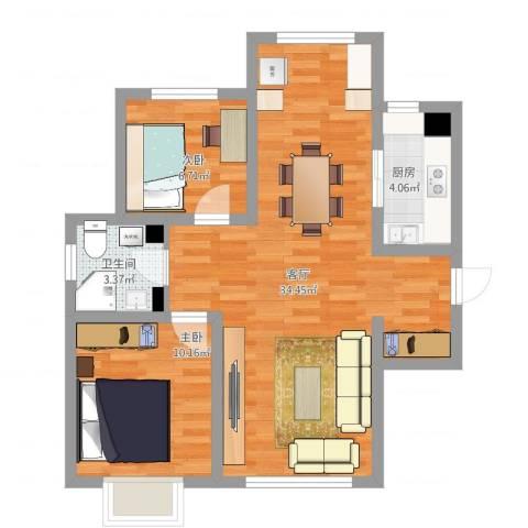 喜蜜湾2室1厅1卫1厨85.00㎡户型图