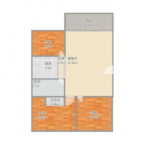 连平花园3室1厅2卫1厨122.00㎡户型图