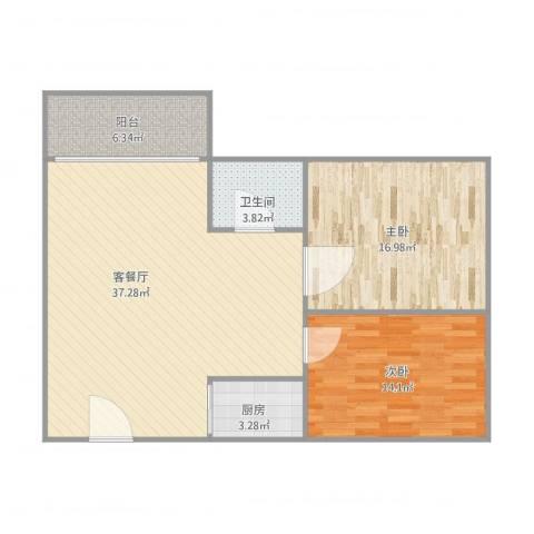 东方广场2室1厅1卫1厨109.00㎡户型图