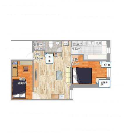 天缘公寓2室1厅1卫1厨71.00㎡户型图