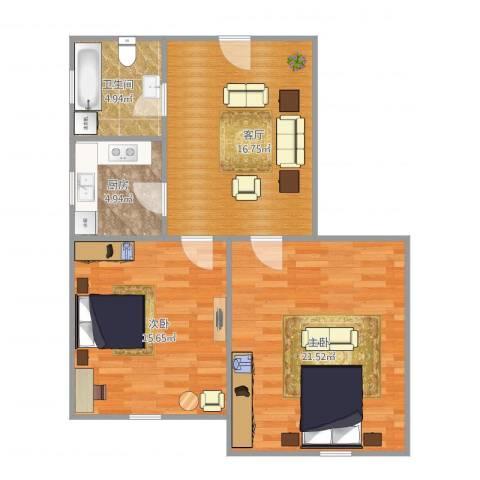 凌兆八村2室1厅1卫1厨68.00㎡户型图