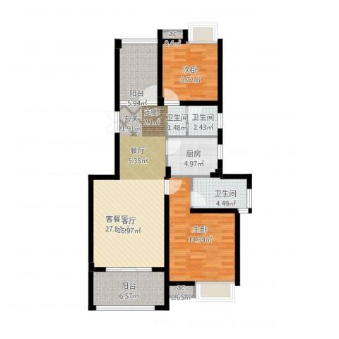 缇香一品2室1厅2卫1厨111.00㎡户型图