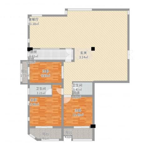 红星8号3室1厅2卫1厨200.00㎡户型图